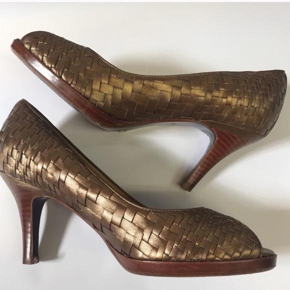 Cole Haan bronze woven heels